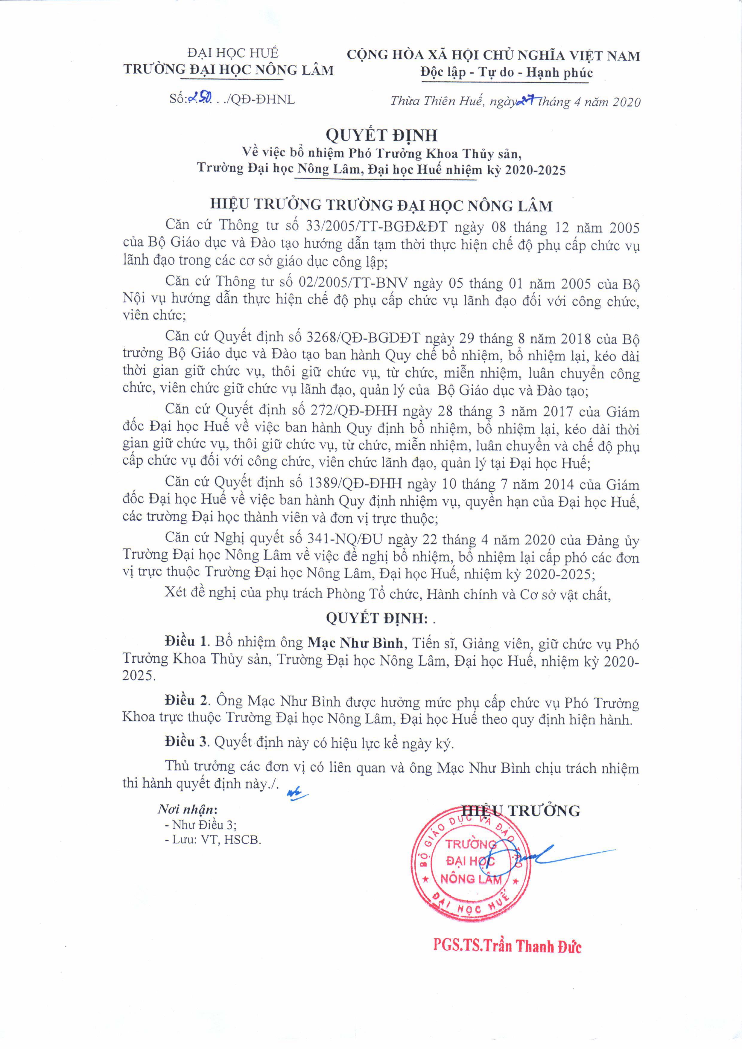 Quyết định bổ nhiệm TS. Mạc Như Bình giữ chức vụ Phó Trưởng khoa Thủy sản