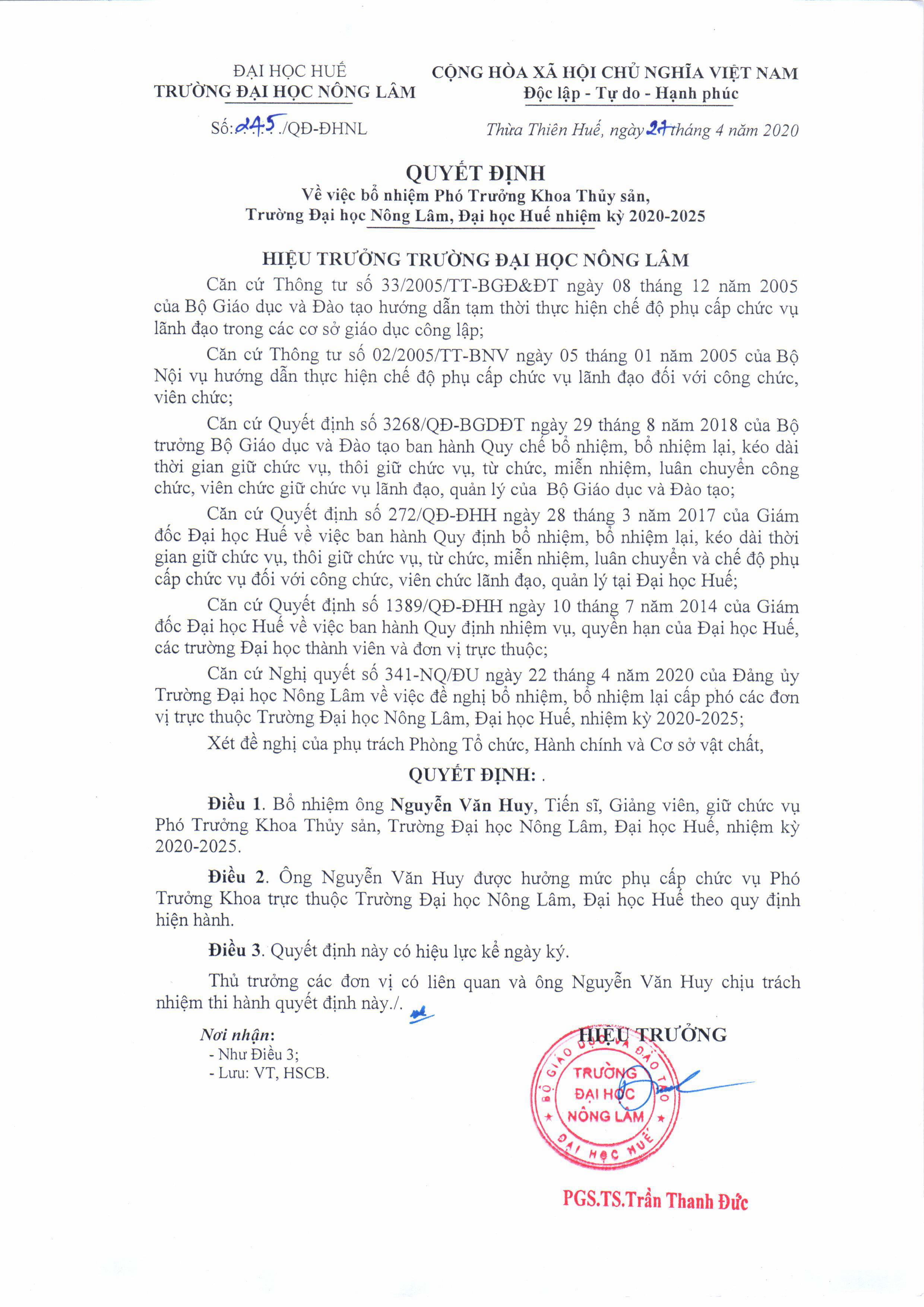 Quyết định bổ nhiệm TS. Nguyễn Văn Huy giữ chức vụ Phó Trưởng khoa Thủy sản